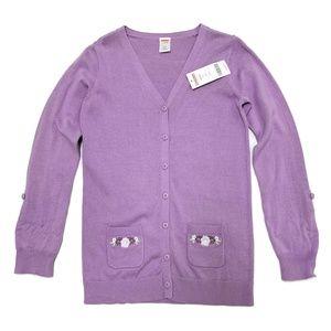 NWT GYMBOREE Lavender cardigan, sz girls L (10–12)